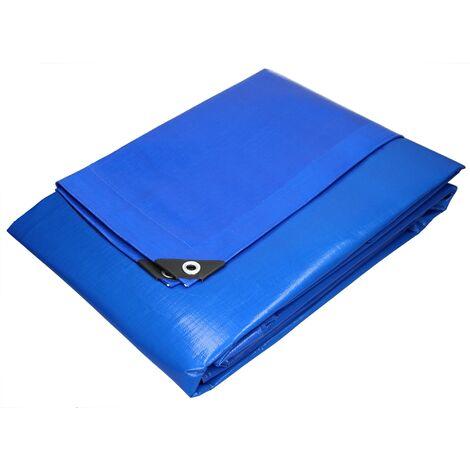 Bâche de couverture étanche protection en PE avec oeillets 2 x 3 m 180 g/m² bleu