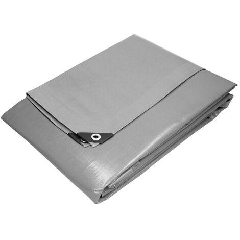 Bâche de couverture étanche protection en PE avec oeillets 2 x 3 m 180 g/m² gris