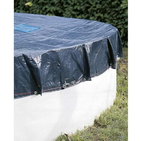 Bâche de protection 140g/m2 Werkapro pour piscine hors sol ronde Ø6m pour piscine Ø5,4m