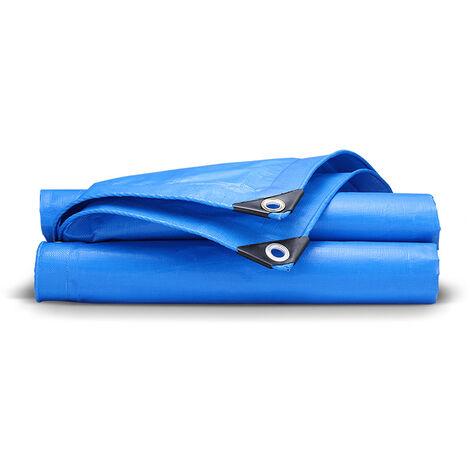 Bâche de Protection Bâche de Recouvrement Bâches de Couverture PE avec œillets Imperméable et Résistante Anti UV pour Home&Garden Piscine Camping Jardin Bleu Bâches (2 X 5 m)
