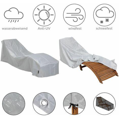 Bâche de protection chaise longue / Bain de soleil Polyester Oxford 420D - Gris Abdeckung Sonnenliege (de)
