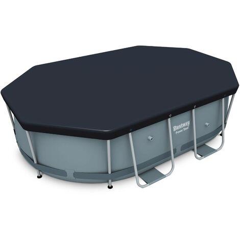 Bâche de protection grise 3x2m pour piscine ovale hors sol 300 x 200 cm, housse, couverture