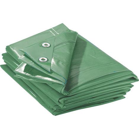 Bâche de protection imperméable verte - 2 x 3 m - 90 g/m² - usage universel (lot de 2 unités)