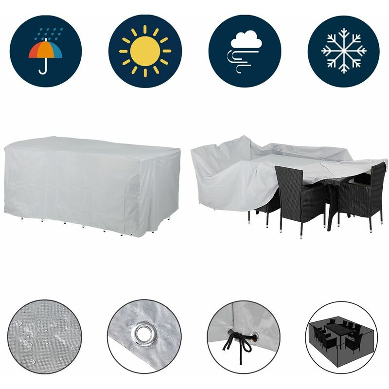 Bâche de protection pour ensemble table et bancs 180x135x82cm 420D Oxford housse Sitzgruppe 8+1 (de)