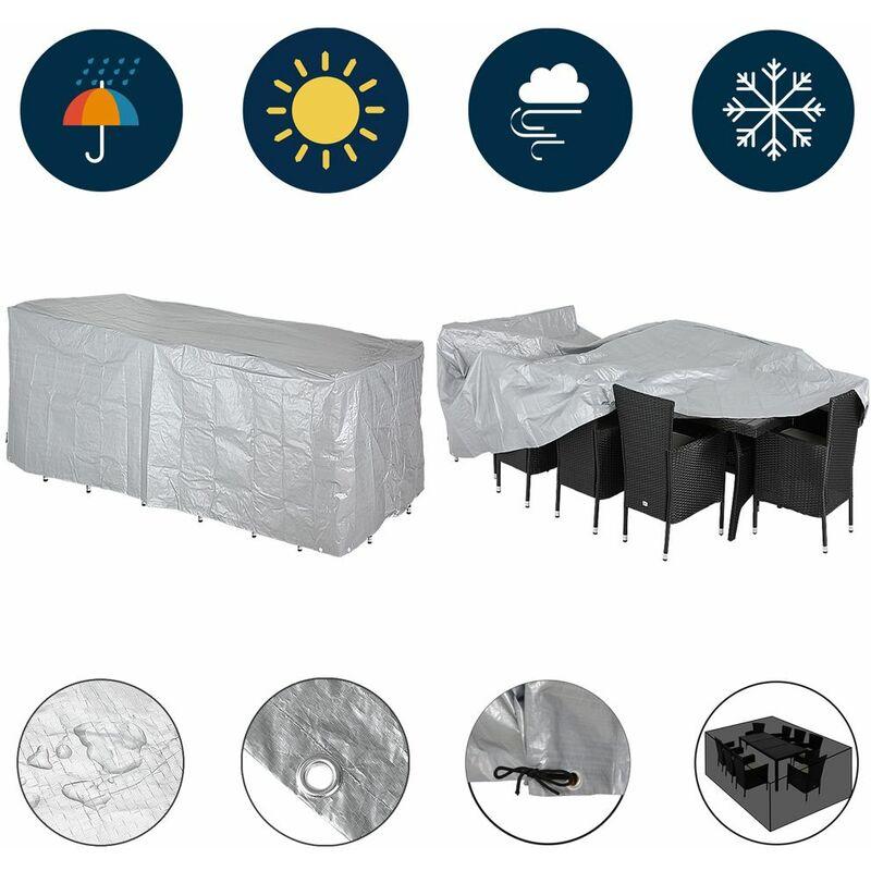 Bâche protectrice - Housse salon de jardin 5 pièces - PE résistant 122x112x98cm Sitzgruppe 8+1 (de)