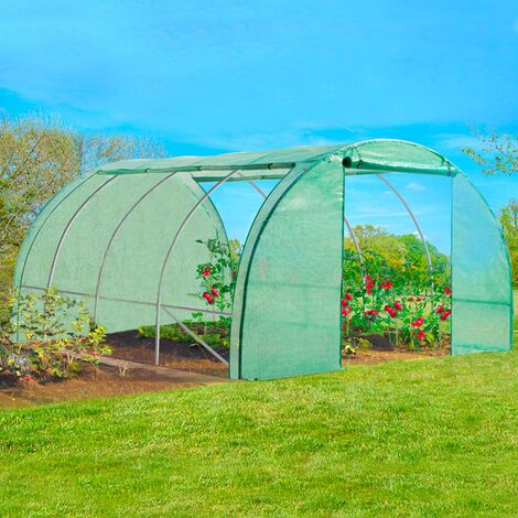 Bâche de rechange 140 gr/m² pour serre 12m² verte 4 saisons ZEBRA