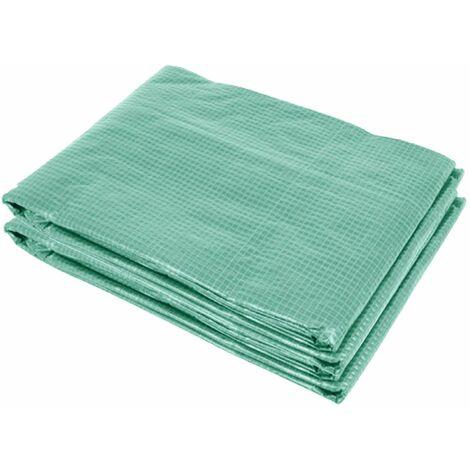 Bâche de rechange serre tunnel 6 m², bâche dim. 3L x 2l x 2H m PE anti-UV imperméable 6 fenêtres + porte enroulable zippée vert