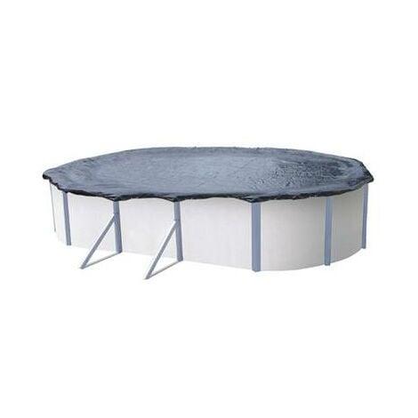 Bache d'hiver piscine hors sol ovale de 4.90 à 5.15 x 3.70 à 3.90 m extérieur