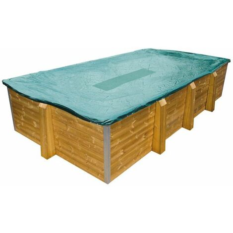 Bâche d'hiver pour piscine bois ovale 6,5 m x 3,3 m Béluga