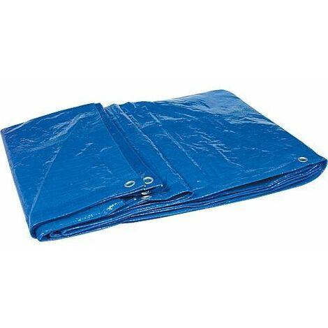 Bache en tissu en tissu filet HPDE 120g/m² avec bord + oeillet 6 x 10 m Couleur : bleu