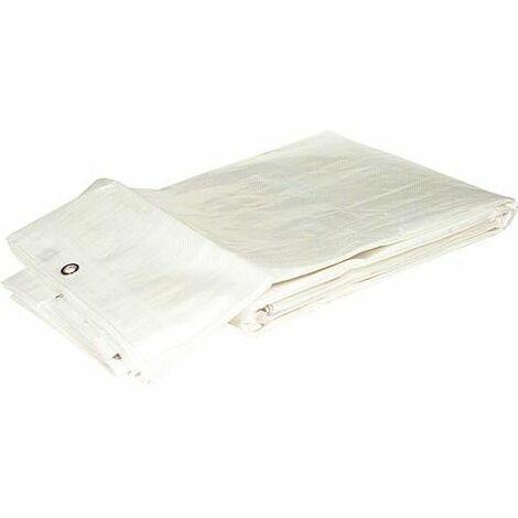 Bache en tissu en tissu filet HPDE 160g/m² avec bord + oeillet 4 x 6 m Couleur : blanc