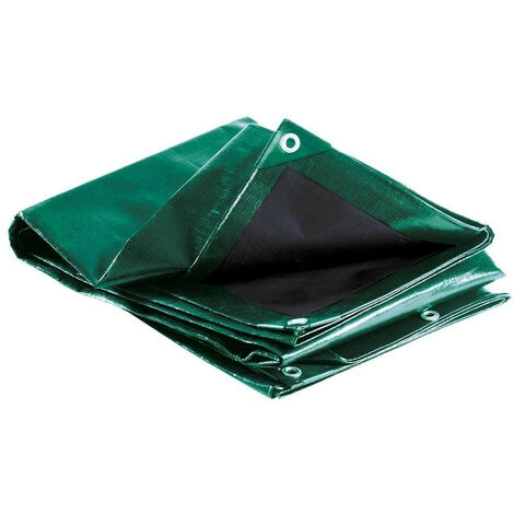 Bâche épaisse ultra résistante 240g/m2 Vert et Noir 10 x 15 m