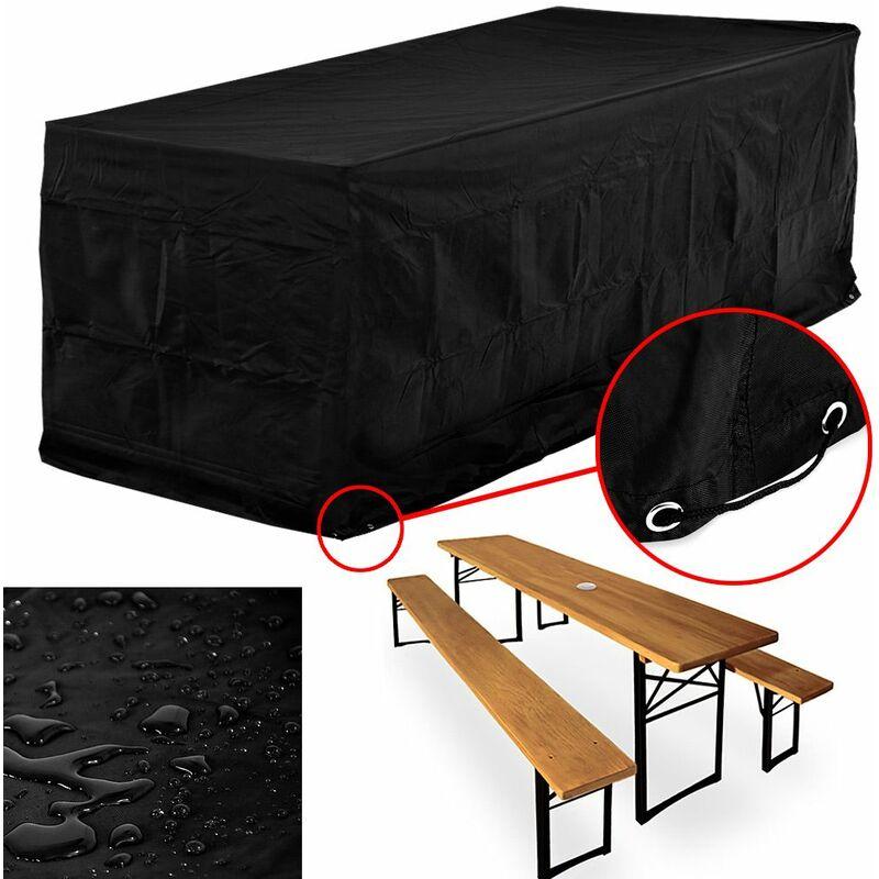 Bâche gris anthracite résistante aux intempéries et déchirures - 180x95x76cm - Pour ensemble tables et bancs