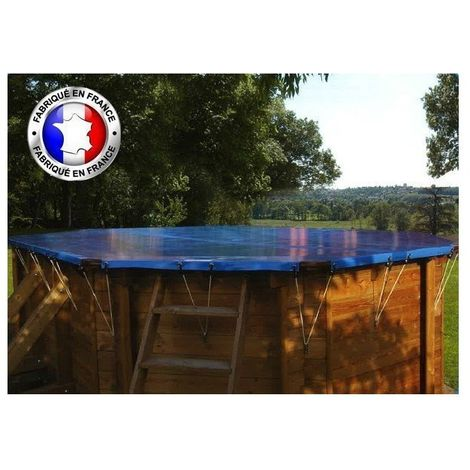 Bâche hiver pour piscine Blooma - Modèles: Piscine hexagonale Lunda Ø 4,12 - Couleur: Bleu/beige