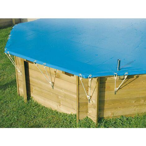 Bâche hiver pour piscine bois Sunwater Ubbink 3,00 x 4,90 m