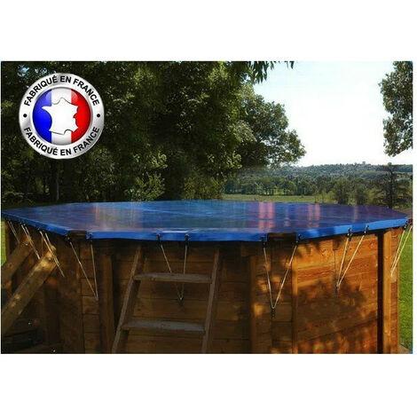 Bâche hivernage pour piscine Sunbay, sur mesure - Modèles: Vermela, 8 pans allongée, 6,72 x 4,72 m - Couleur: Teck/beige