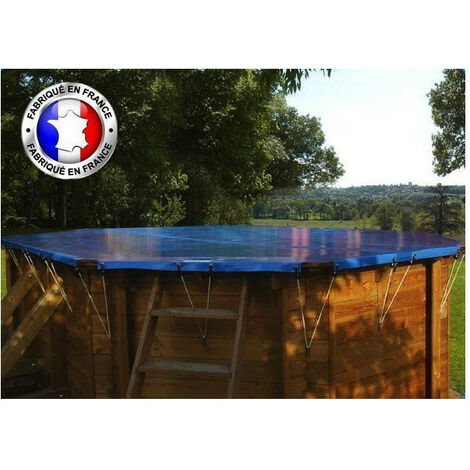 Bâche hivernage pour piscine Sunbay, sur mesure - Modèles: Vermela, 8 pans allongée, 6,72 x 4,72 m - Couleur: Vert/beige