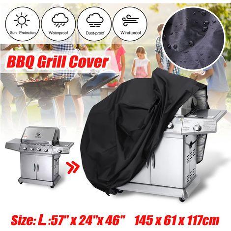 Bâche Housse Barbecue BBQ Protection Poussière Salissure Pluie Noir Jardin Patio Size: L