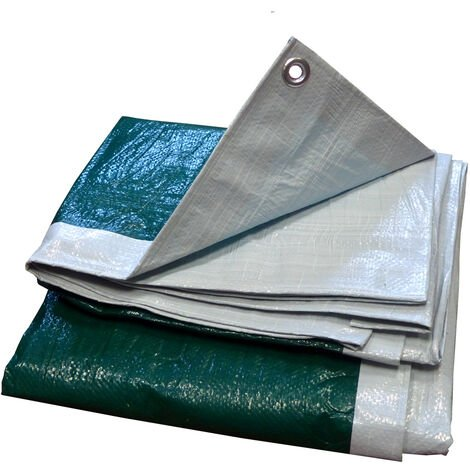 Bâche légère 140gr/m² Blanc/Vert 10m x 12m - Blanc/Vert
