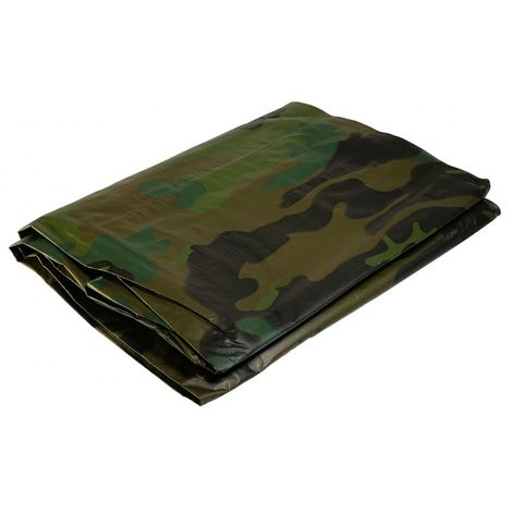 Bâche militaire 1,8x3 m 150g/m²-Bâche camouflage de sol verte et noire Bâche de protection en polyéthylène