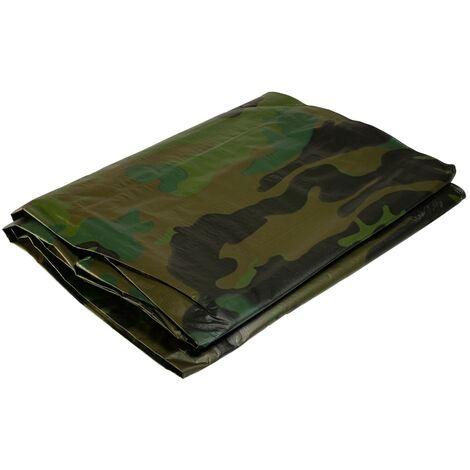 Bâche militaire 3,6x5 m 150 gr/m2 Bâche camouflage de sol verte et noire Bâche de protection en polyéthylène