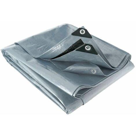 Bâche multifonctions grise et noire 200 g/m2 Werkapro 2,4 x 3 m