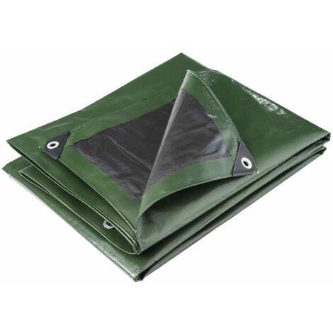 Bâche multifonctions noire et verte 240 g/m2 Werkapro 5 x 8 m