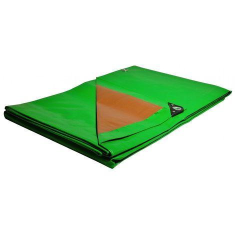 Bâche Pergola 6 x 10 m Verte 250 g/m2 PE haute densité Bâche Anti UV - Verte et Marron