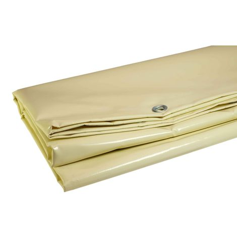 Bâche Pergola 6 x 4 m Ivoire 680 g/m2 PVC Haute qualité - Ivoire