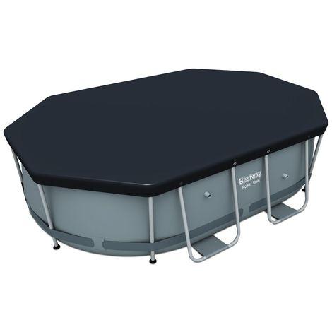 Bâche piscine ovale BESTWAY Power Seel 300x200 cm - 4 saisons - PVC ultra résistant gris