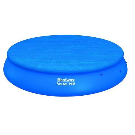 Bâche piscine ronde Diam 457 cm BESTWAY FAST SET POOL COVER 4 saisons PVC ultra résistant bleu