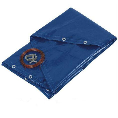 Bâche piscine ronde - diamètre 620 cm pour piscine de 540 cm de diamètre - couleur bleue et verte - 140g/m2 - filet d'écoulement