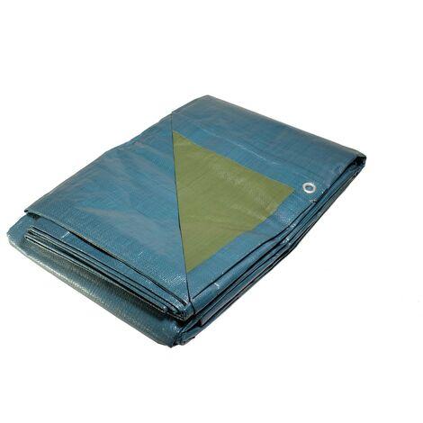 Bâche plastique 6x10 m bleue et verte 150g/m² - bâche de protection polyéthylène