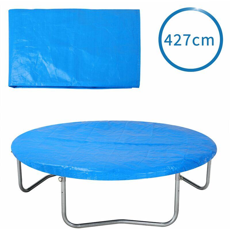 Bâche de protection pour trampoline Ø 183 - 426 cm bleu Housse en PE résistante aux UV pluie neige soleil 426cm - bleu