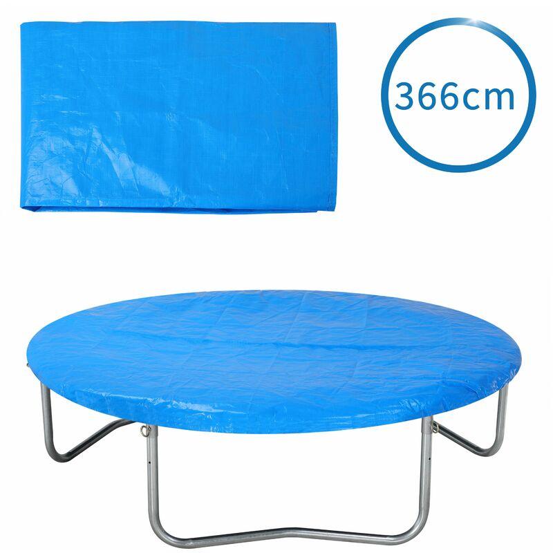 Bâche de protection pour trampoline Ø 183 - 426 cm bleu Housse en PE résistante aux UV pluie neige soleil 366cm - Bleu