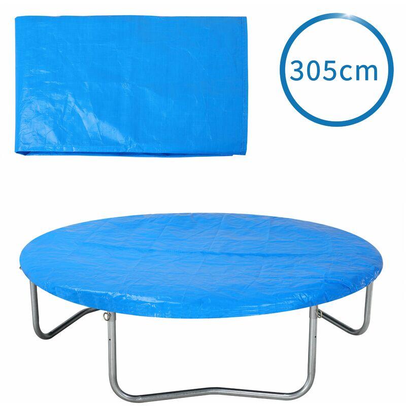 Bâche de protection pour trampoline Ø 183 - 426 cm bleu Housse en PE résistante aux UV pluie neige soleil 305cm - bleu