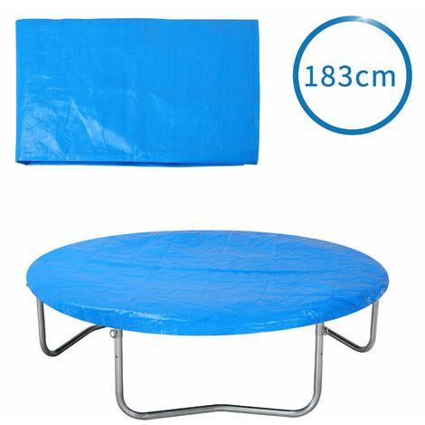 Bâche de protection pour trampoline Ø 183 - 426 cm bleu Housse en PE résistante aux UV pluie neige soleil 183cm - blau (de)