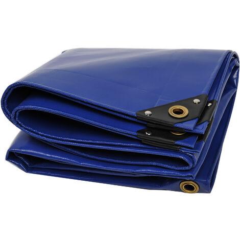Bâche premium NEMAXX PLA34 300x400 cm - bleu avec œillets, 650 g/m² PVC, abri, toile de protection - étanche, résistante, 12m²