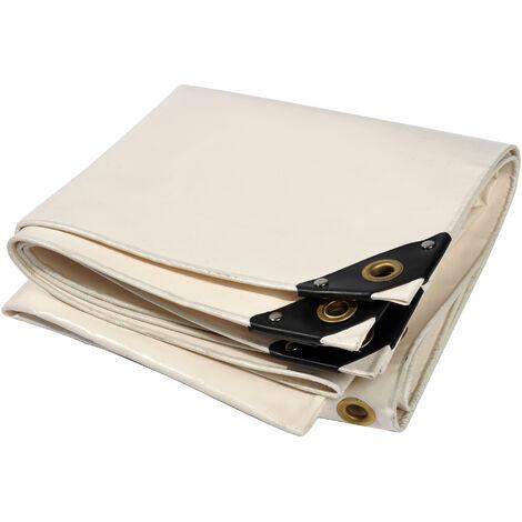 Bâche premium NEMAXX PLA45 400x500 cm - blanc avec œillets, 650 g/m² PVC, abri, toile de protection - étanche, résistante, 20m²