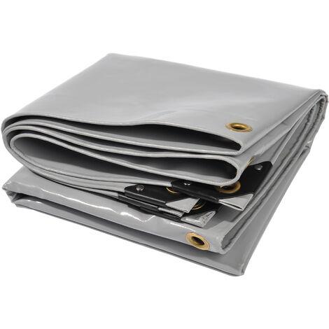 Bâche premium NEMAXX PLA45 400x500 cm - gris avec œillets, 650 g/m² PVC, abri, toile de protection - étanche, résistante, 20m²