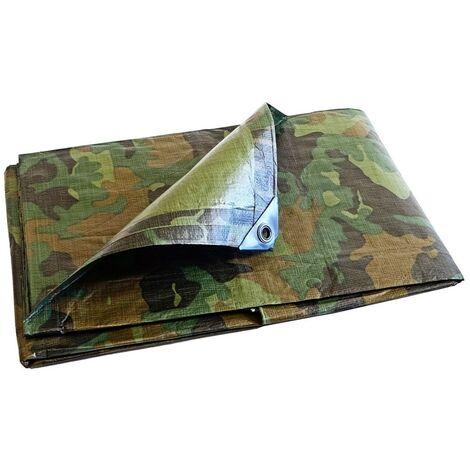 Bâche Serre jardin Camouflage 150 g/m² - 3.6 x 5 m - petite serre de jardin - bache exterieur - bache militaire