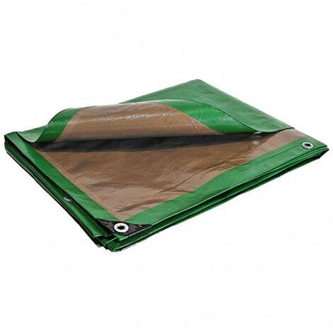 Bâche terrasse 6 x 10 m 250g/m² Traitée anti UV Bâche de terrasse verte et marron en polyéthylène haute qualité