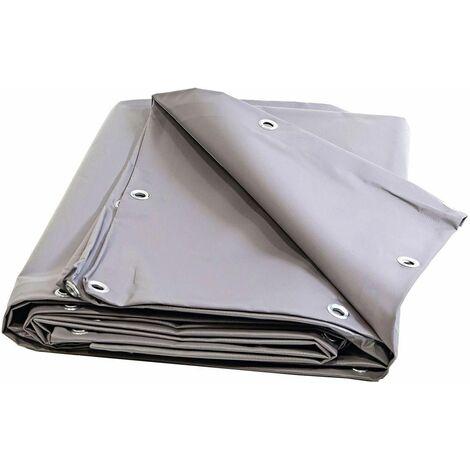 Bache Toiture Couvreur 680 g/m² - 5 x 6 m - Bache grise etancheite toiture - bache imperméable - bache de chantier