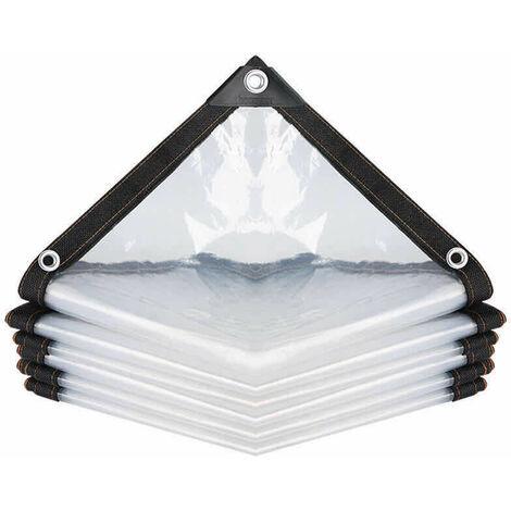 Bâche Transparente Imperméable avec Oeillets, à l'eau en PE Multi-Usage Anti-Pluie Résistante Aux Déchirures Toile de bâche Ultra légère (Color : Clear, Size : 200x200cm)