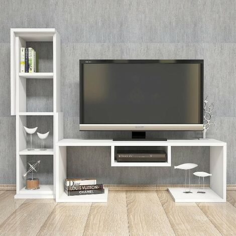 Bacio TV Stand - with Shelves - for Living Room - White, made in Wood, 126,8 x 35 x 103,6 cm