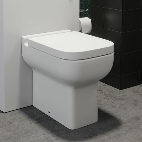Back To Wall Bathroom Toilet Top Mounted Soft Close Seat White