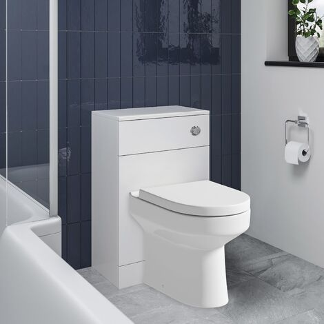 Back To Wall BTW Toilet Pan Concealed Cistern Unit 500mm Soft Close Top Fix Seat
