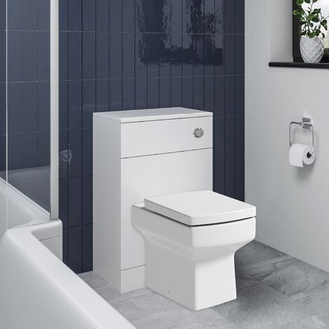 Back To Wall BTW Toilet Pan Concealed Cistern Unit 500mm Square Soft Close Seat