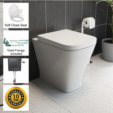 Back To Wall BTW Toilet Pan Soft Close Seat Concealed Cistern Dual Flush Button