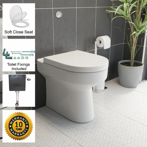 Back To Wall BTW Toilet Pan WC Soft Close Top Mounted Seat Cistern Flush Button